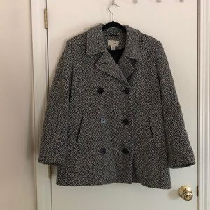 Black and White Wool Peacoat, L.L. Bean, Size 16P